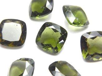 天然石卸 宝石質モルダバイトAAA スクエア型ファセットカット10×10×6mm 穴なし 1個5,980円!