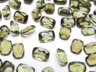 天然石卸 宝石質モルダバイトAAA レクタングルファセットカット7×5×3mm 穴なし 1個1,480円!