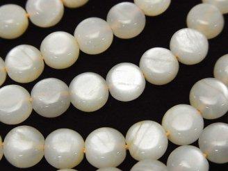 天然石卸 ホワイトムーンストーンAA++ コイン8×8×6mm 半連/1連(約38cm)