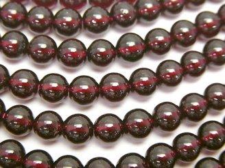 天然石卸 高品質ガーネットAAA- ラウンド6mm 半連/1連(約37cm)
