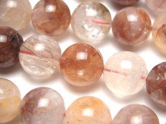 天然石卸 レッドヘマタイトクォーツ ラウンド16mm 1/4連〜1連(約35cm)