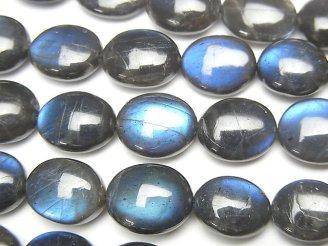 天然石卸 1連9,980円!宝石質ブラックラブラドライトAAA- オーバル 1連(約40cm)