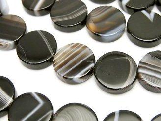 天然石卸 1連980円!ストライプオニキス フラットコイン14×14×4 1連(約37cm)
