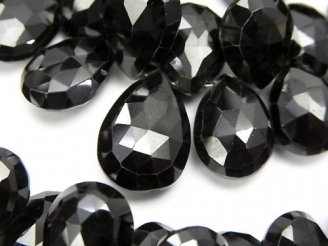 天然石卸 宝石質ブラックスピネルAAA 大粒ペアシェイプ ブリオレットカット 半連/1連(約18cm)