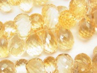 天然石卸 宝石質シトリンAAA 大粒ドロップ ブリオレットカット 半連/1連(約18cm)