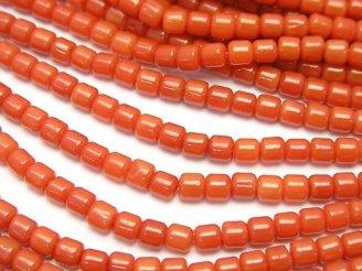 天然石卸 1連480円!赤珊瑚・レッドコーラル(染) ロンデル(チューブ)3×3×3mm 1連(約38cm)