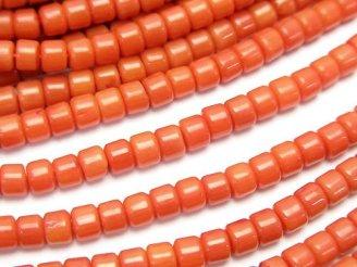 天然石卸 1連580円!赤珊瑚・レッドコーラル(染) ロンデル(チューブ)4×4×3mm 1連(約38cm)
