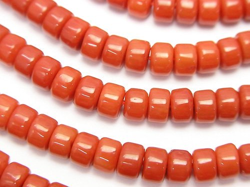 赤珊瑚・レッドコーラル(染) ロンデル(ヘイシ)5×5×3mm 1連(約38cm)