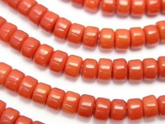 天然石卸 1連680円!赤珊瑚・レッドコーラル(染) ロンデル(チューブ)5×5×3mm 1連(約38cm)
