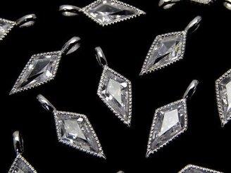 天然石卸 メタルパーツ ダイヤ型チャーム【17×7mm】【19×7mm】 シルバーカラー(CZ付) 2個