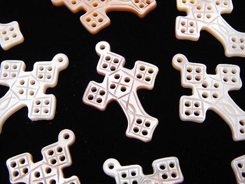 高品質ピンクシェル 透かしクロス(十字架)27×19×2mm 1個