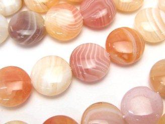 天然石卸 ライトオレンジボツワナアゲート コイン12×12×6 半連/1連(約36cm)