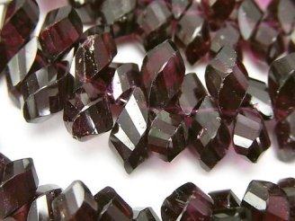 天然石卸 宝石質ガーネットAAA-〜AA++ ドロップ4面ツイスト ブリオレットカット 半連/1連(約18cm)