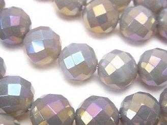 天然石卸 フラッシュ・グレーオニキス 64面ラウンドカット12mm 半連/1連(約35cm)