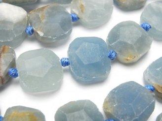 天然石卸 天然母岩付きブルーカルサイトAA フラットタンブルカット 半連/1連(約36cm)