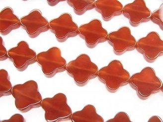 天然石卸 レッドアゲートAAA フラワーモチーフ10×10×3 半連/1連(約38cm)