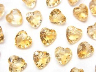 天然石卸 宝石質シトリンAAA ハートシェイプカット 6×6×3mm 10粒・1連(ブレス)