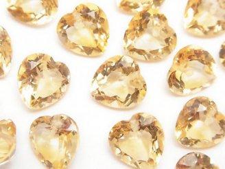 天然石卸 宝石質シトリンAAA ハートシェイプカット 10×10×6 5粒〜1連(ブレス)