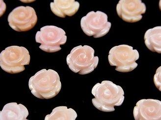 天然石卸 クィーンコンクシェルAAA 薔薇8mm 【片穴】 2粒480円!