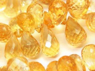 天然石卸 宝石質シトリンAAA 大粒ドロップ ブリオレットカット 1/4連〜1連(約18cm)
