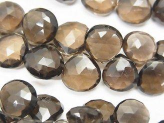天然石卸 宝石質スモーキークォーツAAA マロン ブリオレットカット 半連/1連(約18cm)