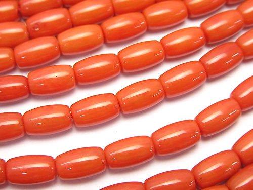 赤珊瑚・レッド〜オレンジコーラル(染) チューブ8×5×5mm 1連(約38cm)