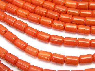 天然石卸 1連680円!赤珊瑚・レッド〜オレンジコーラル(染) チューブ5×4×4mm 1連(約38cm)