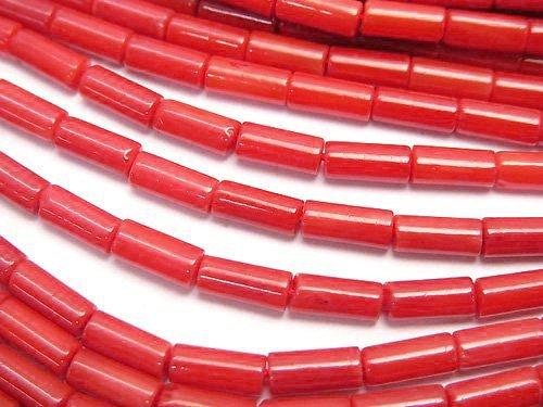 赤珊瑚・レッドコーラル(染) チューブ7×3×3mm 1連(約38cm)
