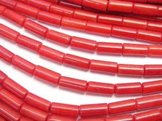 天然石卸 1連480円!赤珊瑚・レッドコーラル(染) チューブ7×3×3mm 1連(約38cm)