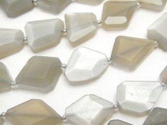 天然石卸 グレームーンストーンAAA- フラットタンブルカット 半連/1連(約34cm)