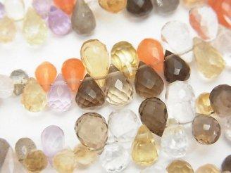 天然石卸 宝石質いろんな天然石AAA ドロップ ブリオレットカット 半連/1連(約18cm)