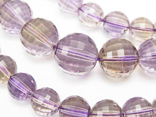 【1点もの】宝石質アメトリンAAA ミラーラウンドカット8〜13mm 1連(ネックレス) NO.20