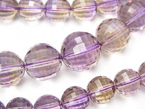 【1点もの】宝石質アメトリンAAA ミラーラウンドカット7〜12mm 1連(ネックレス) NO.21