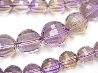 天然石卸 1点もの!宝石質アメトリンAAA ミラーラウンドカット7〜12mm 1連(ネックレス) NO.21