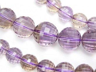 天然石卸 1点もの!宝石質アメトリンAAA ミラーラウンドカット7〜12mm 1連(ネックレス) NO.22