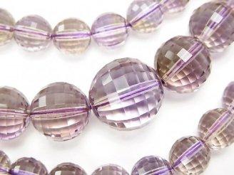 天然石卸 1点もの!宝石質アメトリンAAA- ミラーラウンドカット7〜14mm 1連(ネックレス) NO.2