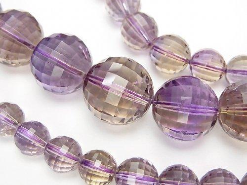 【1点もの】宝石質アメトリンAAA- ミラーラウンドカット6〜15mm 1連(ネックレス) NO.5