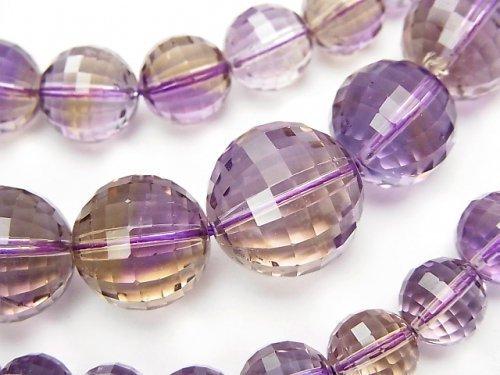 【1点もの】宝石質アメトリンAAA- ミラーラウンドカット6〜15mm 1連(ネックレス) NO.7