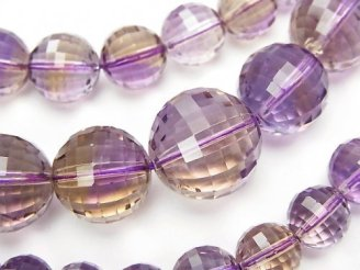 天然石卸 1点もの!宝石質アメトリンAAA- ミラーラウンドカット6〜15mm 1連(ネックレス) NO.7