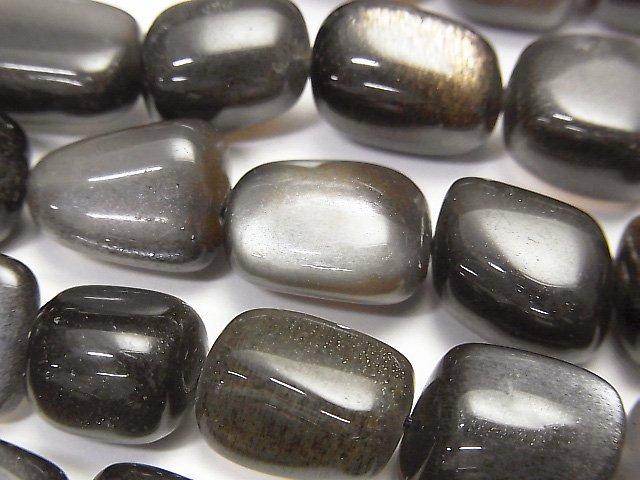 【動画】宝石質ブラックムーンストーンAAA タンブル サイズグラデーション 1連(約37cm)