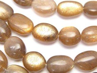 宝石質シルバーシャイン ブラウンムーンストーンAAA- タンブル サイズグラデーション 1連(約37cm)