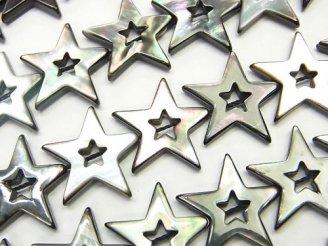 天然石卸 高品質ブラックシェル スター(星)カット(ドーナツ)18×20×3mm 1/4連〜1連(約38cm)