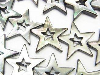 天然石卸 高品質ブラックシェル スター(星)カット(ドーナツ)22×25×4mm 1/4連〜1連(約36cm)