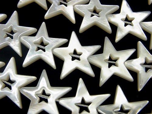 高品質ホワイトシェル スター(星)カット(ドーナツ)18×20×3mm 1/4連〜1連(約38cm)