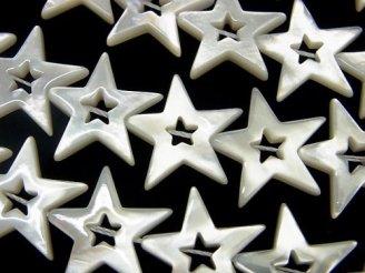 天然石卸 高品質ホワイトシェル スター(星)カット(ドーナツ)18×20×3mm 1/4連〜1連(約38cm)
