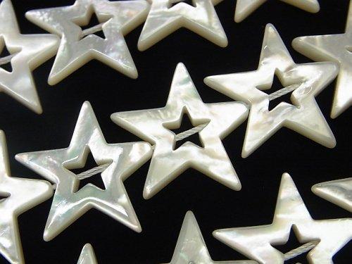 高品質ホワイトシェル スター(星)カット(ドーナツ)22×24×3mm 1/4連〜1連(約38cm)