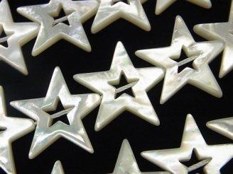 天然石卸 高品質ホワイトシェル スター(星)カット(ドーナツ)22×24×3mm 1/4連〜1連(約38cm)