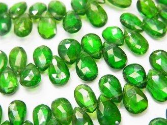 天然石卸 宝石質クロムダイオプサイドAAA〜AAA- ペアシェイプ ブリオレットカット 1/4連〜1連(約18cm)