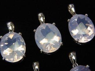 天然石卸 宝石質スコロライトAAA オーバルファセットカット 【M】【L】 ペンダントトップ SILVER925製