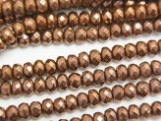 天然石卸 1連580円!ヘマタイト ボタンカット4×4×3 ブロンズカラーコーティング 1連(約38cm)
